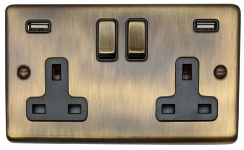 G&H CAB3910 Standard Plate Antique Bronze 2 Gang Double 13A Switched Plug Socket 2.1A USB